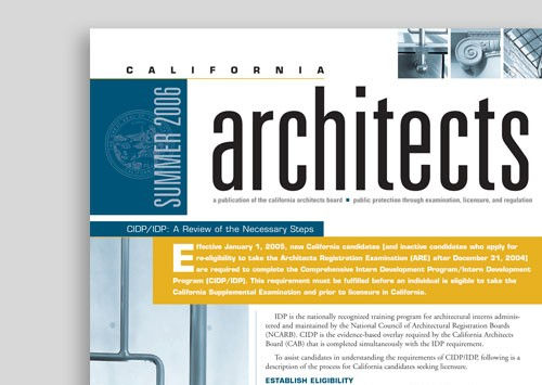 CALIFORNIA ARCHITECTS BOARD <br /> newsletter