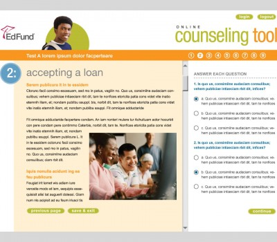 EdFund online counseling tool interface design